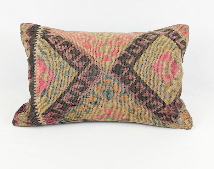 "Large Vintage Turkish Rug Pillow - Lumbar  | 16"" x 24"""