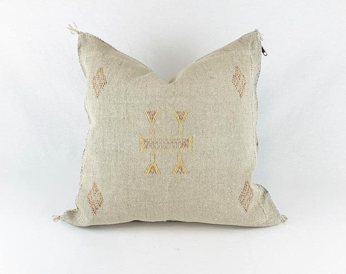 "Gray Sabra Silk Pillow  |  Gray Cactus Silk  | 18"" X 18""  |  Square Throw Pillow"