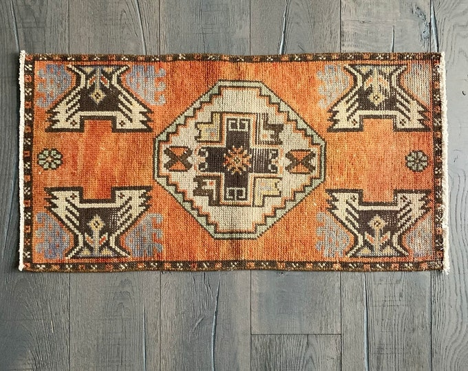 "Mini Vintage Turkish Rug - 2'11"" x 1'6"""