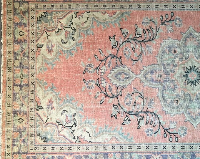 9.7 x 5.6  - Large Vintage Turkish Rug  |  Turkish Oushak Rug  |  Peach  Rug