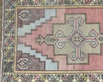 """9'0"""" x 4'4"""" - Large Vintage Turkish Oushak Rug    Pastel Rug     Blush and Pastel Turkish Rug"""