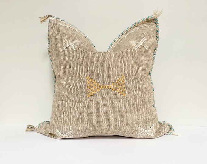 "Vintage Sabra Silk Pillow - Grey  |  16"" x 16""  |  Moroccan Cactus Silk Pillow  |  Square Throw Pillow"