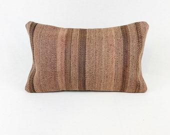 """Vintage Turkish Rug Pillow - 12"""" x 20"""" Lumbar"""