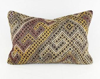 Large Vintage Turkish Rug Pillow - Lumbar    16 x 24 Large Lumbar Pillow    Kilim Pillow     Purple, Khaki Green, Yellow and Beige Lumbar