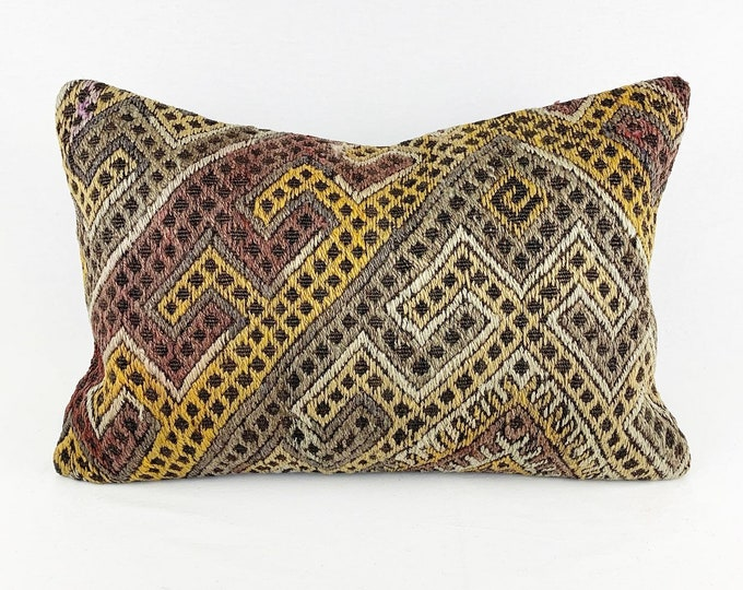 Large Vintage Turkish Rug Pillow - Lumbar  | 16 x 24