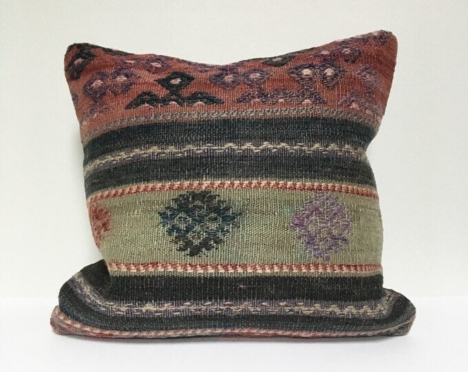Vintage Turkish Rug  Pillow no. 60  |  16 x 16  |  Turkish Kilim Pillow  |  Square