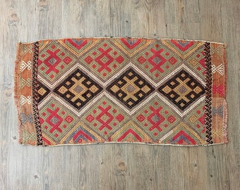 "Small Vintage Kilim Rug  |  2'9"" x 1'5"" Turkish Rug  
