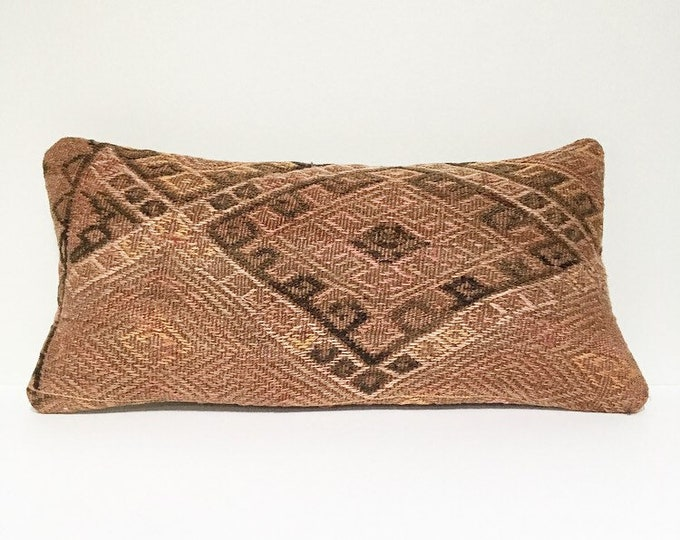 Vintage Turkish Rug Pillow no. 65 |  10 x 20  |  Lumbar  |  Turkish Kilim Pillow