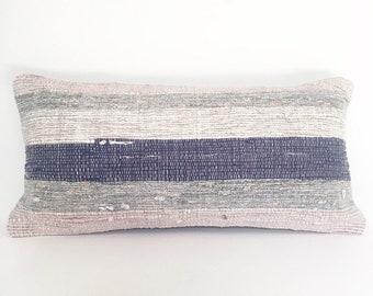 Vintage Turkish Kilim Rug Pillow no. 23 - Lumbar (10 x 20)