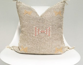 Faded Grey Sabra Silk Pillow no. 20     18 x 18     Moroccan Cactus Silk Pillow