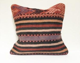 Vintage Turkish Rug Pillow no. 73     10 x 20  Lumbar     Turkish Kilim Pillow
