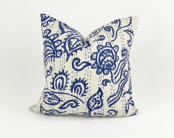 "Blue and White Vintage Kantha Pillow - 16"" X 16"""