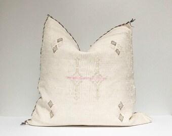 Vintage Sabra Silk Pillow - White  |  18 x 18  |  Moroccan Cactus Silk Pillow