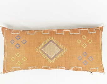 King-Sized 18 x 36 Lumbar Cactus Silk Pillow  - Burnt Orange