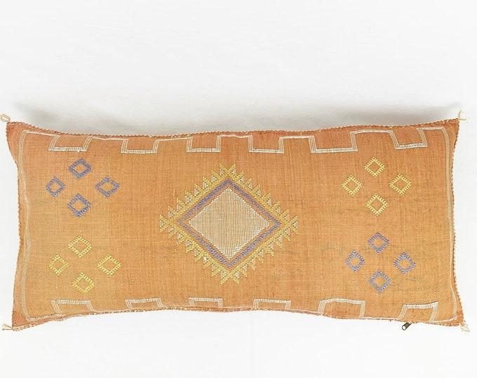 King-Sized 18 x 36 Lumbar Cactus Silk Pillow  - Burnt Orange