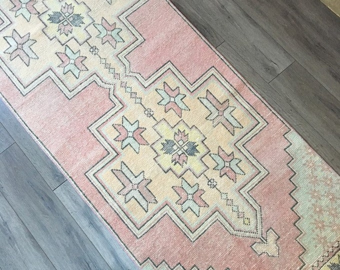 Vintage Turkish Runner Rug  -  8.5 x 2.8  |  Vingage Turkish Oushak Rug  |   Blush and Faded Pastel Rug