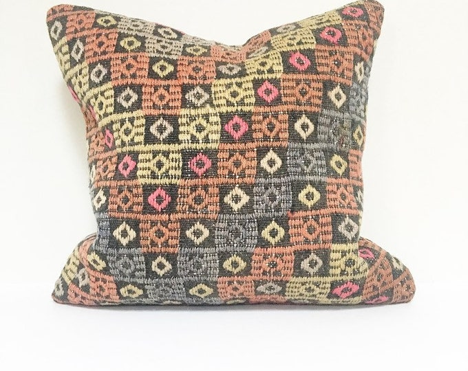 "Vintage Turkish Rug Pillow - 16"" x 16"" Square  