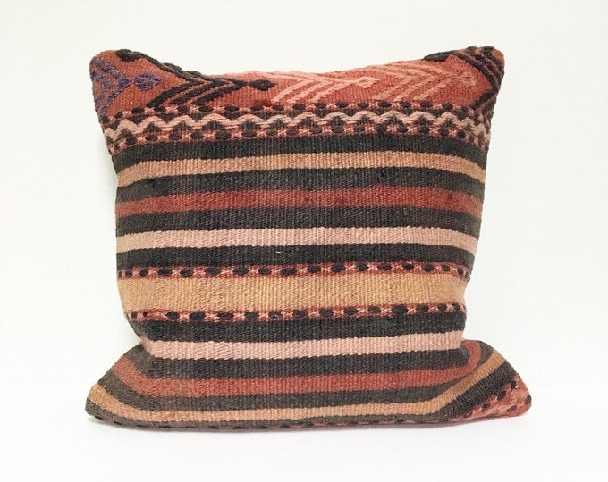 Vintage Turkish Rug Pillow no. 62  |  16 x 16    |  Turkish Kilim Pillow  |  Square