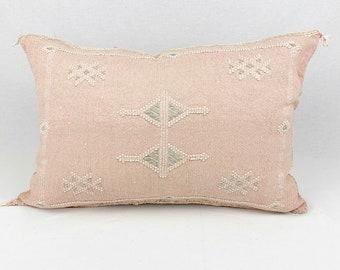 """White Lumbar Cactus Silk Pillow - 18"""" X 24"""""""