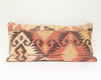 Vintage Turkish Rug Pillow no. 64  |  10 x 20  |  Lumbar  |  Turkish Kilim Pillow