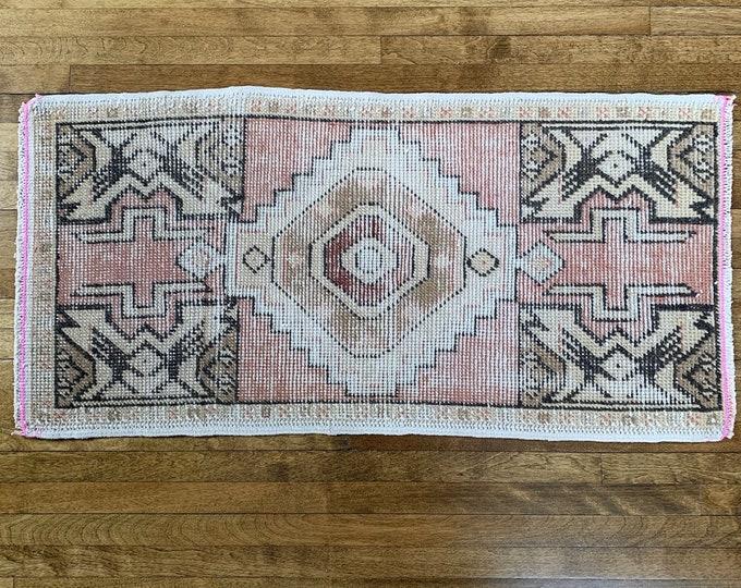 "2'9"" x 1'5""  - Mini Vintage Turkish Rug  |  Faded Pink and Beige Vintage Rug  |  Pink Oushak"