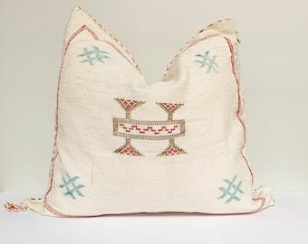 "Vintage Sabra Silk Pillow - White  |  18"" x 18""  |  Moroccan Sabra Silk Pillow  |  Throw Pillow"