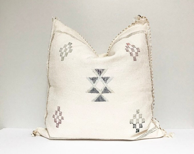 Vintage Sabra Silk Pillow - White     18 x 18     Moroccan Cactus Silk Pillow