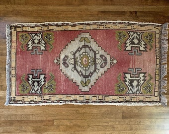 "Small Vintage Turkish Rug  |  3'2"" x 1'6""  