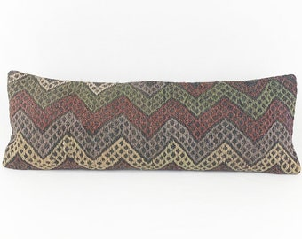 XL Turkish Rug Pillow - 12 x 36 Lumbar |  Long Lumbar  |  Turkish Kilim Lumbar Pillow