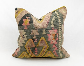 "20"" x 20"" - Vintage Turkish Rug Pillow no. 101     Turkish Kilim Pillow     Pastel Square Pillow"