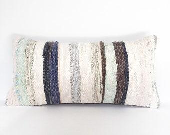 Vintage Turkish Kilim Rug Pillow no. 32 - Lumbar (10x20)