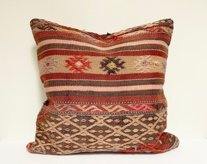 "Vintage Turkish Rug Pillow - 20"" x 20""  