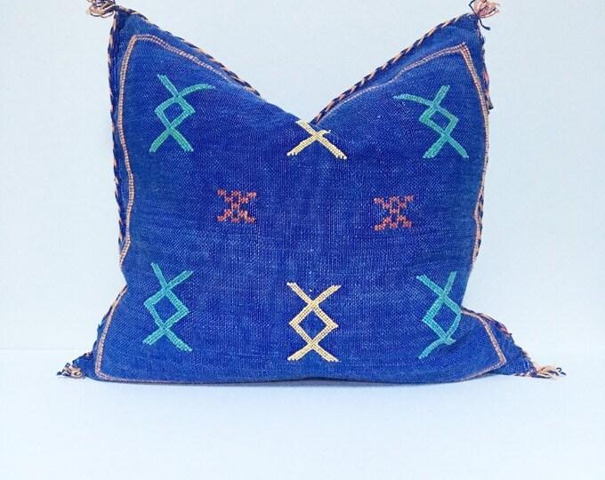 Vintage Sabra Silk Pillow no. 20  - Indigo Blue     18 x 18     Moroccan Cactus Silk