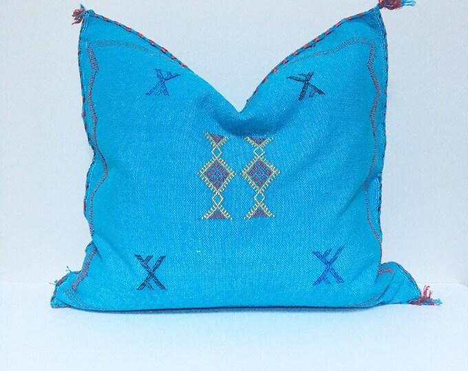 Vintage Sabra Silk Pillow no. 22  - Turquoise  |  18 x 18  |  Moroccan Cactus Silk