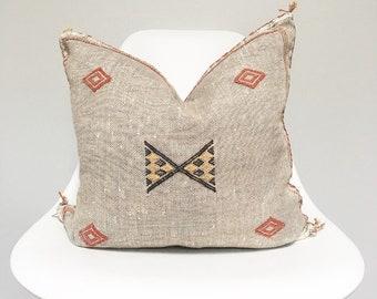 Vintage Faded Grey Sabra Silk Pillow no. 29     18 x 18     Moroccan Cactus Silk