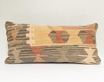 Vintage Turkish Rug Pillow no. 71  |  10 x 20   Lumbar  |  Pastel Pillow  |  Kilim Rug Pillow
