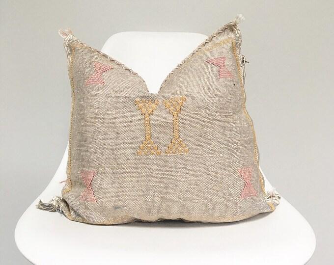 Vintage Faded Grey Sabra Silk Pillow no. 24     18 x 18     Moroccan Cactus Silk Pillow