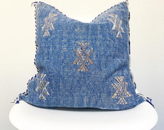 Vintage Faded Blue Sabra Silk Pillow no. 32     20 x 20     Cactus Silk