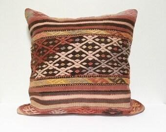 Large Vintage Turkish Rug Pillow no. 67  |  22 x 22  |  Square |  Turkish Kilim