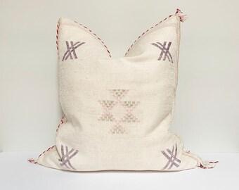 "Vintage Sabra Silk Pillow - White  |  18"" x 18""  |  Moroccan Cactus Silk Pillow"