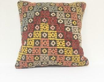 "Vintage Turkish Rug Pillow - 16"" x 16"" Square  |    Turkish Kilim Pillow  |  Square Throw Pillow"