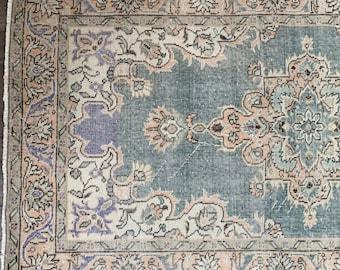 """6'7"""" x 4'1"""" -  Vintage Turkish Area Rug     Faded blue Turkish Rug     Turkish Oushak"""
