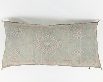 """Large Grey Lumbar Cactus Silk Pillow - 18"""" X 36"""""""