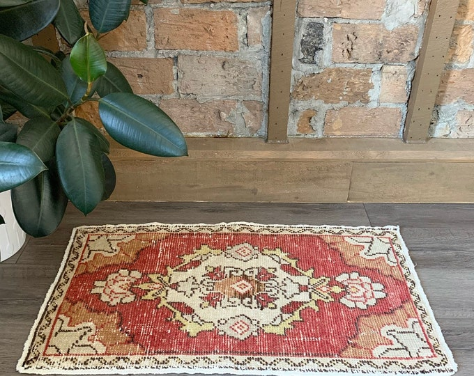 "3'0"" x 1'6"" - Mini Vintage Turkish Rug  