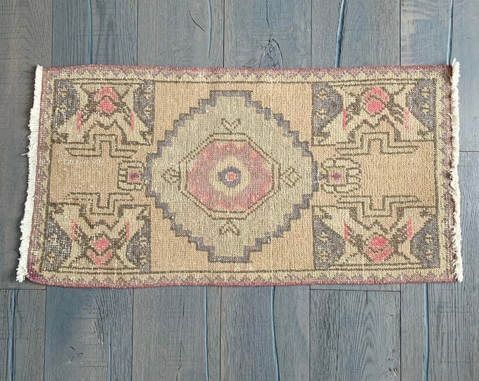 "Small Turkish Oushak Rug - 3'0"" x 1'7"""