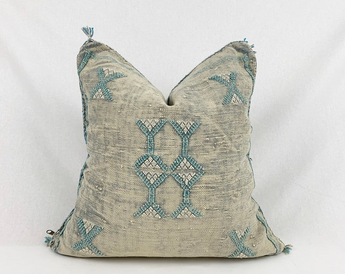 "Vintage Sabra Silk Pillow - Faded Blue Grey  |  20"" x 20""  