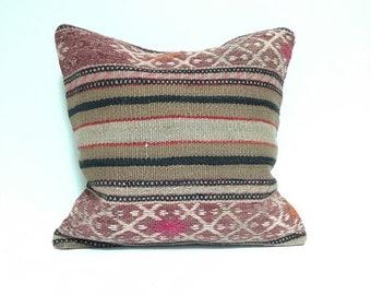 Vintage Turkish Rug Pillow no. 75  |  16 x 16 Lumbar  |  Turkish Kilim Pillow