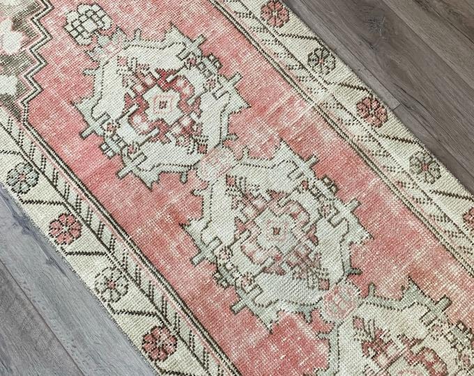 "8'2"" x 2'7"" - Vintage Turkish Runner Rug  |  Pink and Brown Turkish Rug  |  Vintage Oushak"