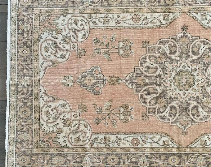 "Vintage Turkish Rug  | Pink Turkish Rug  |  Pink and Brown Area Rug | 7'3"" x 3'11"""
