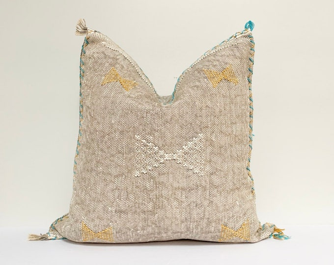 "Vintage Sabra Silk Pillow - Grey |  16"" x 16""  |  Moroccan Cactus Silk  |  Grey Throw Pillow"